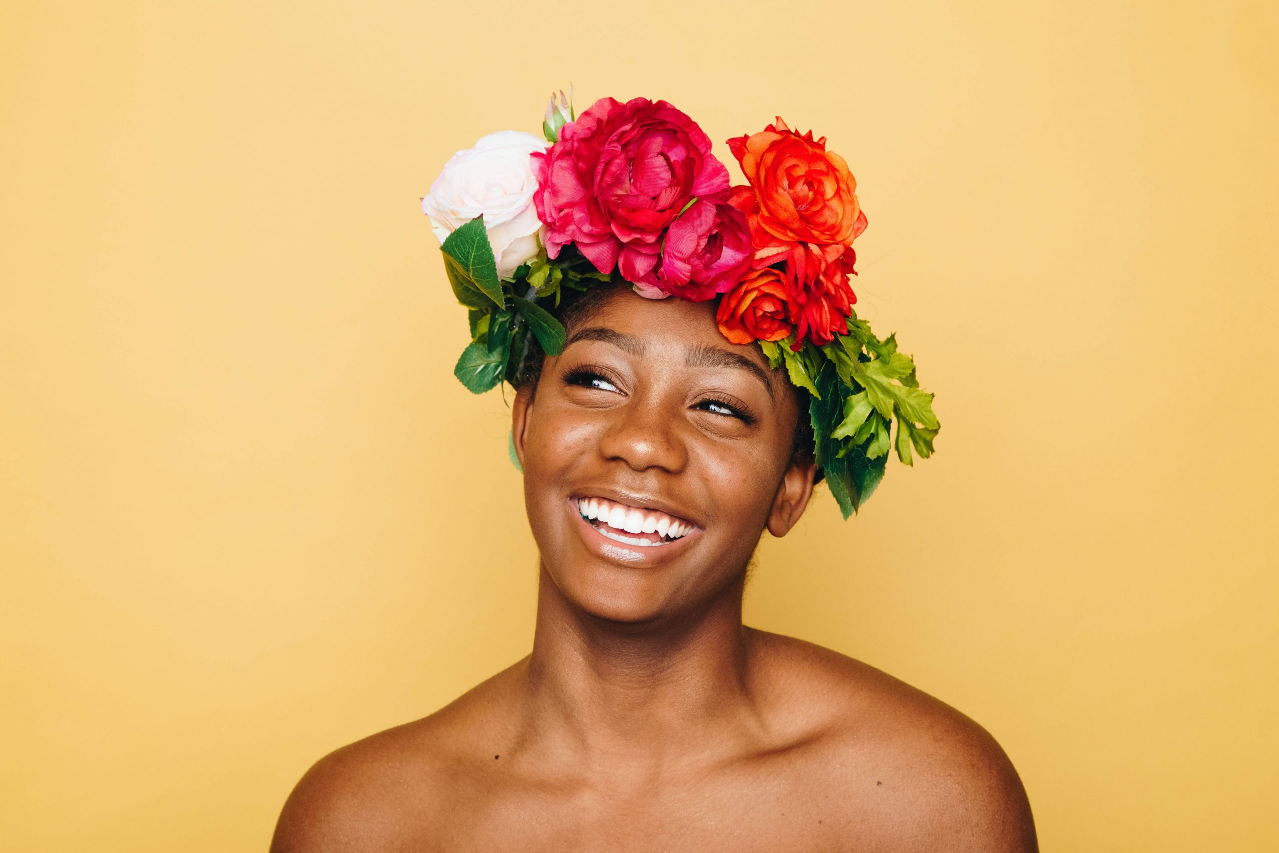 beautiful black woman wearing a flower crown